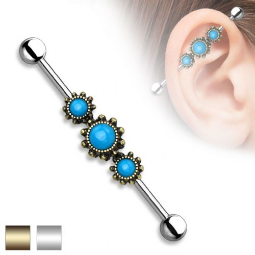 Industrial Barbell Piercing with Triple Opal Cogs